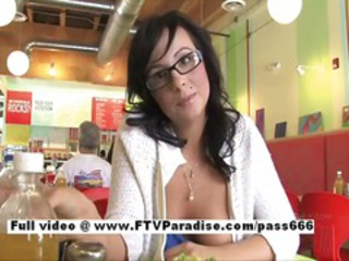 Brunette Girlfriend Glasses Public