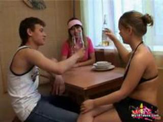 Amateur Drunk Kitchen Teen Threesome