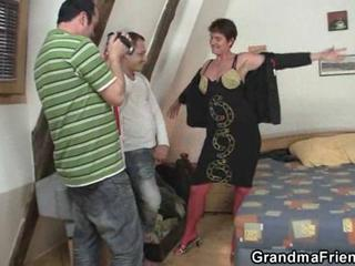 """Granny takes two cocks after photosession"""" class=""""th-mov"""