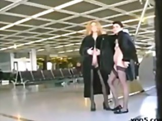 2 MILF's go naked at the airport