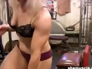 Mature blonde works out her hot buff body at the gym and gets naked
