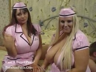 Big Tits  Natural Nurse Threesome Uniform
