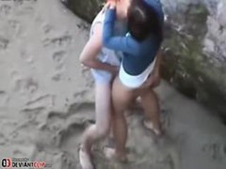 Teen Couple Have Voyuer Sex On The Beach