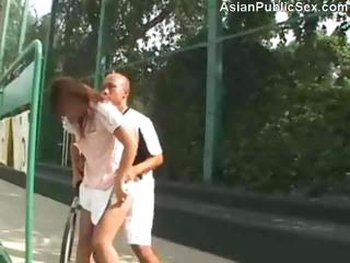 Asian Girlfriend Outdoor Public Sport