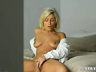 Blonde Babe In White Shirt Undress