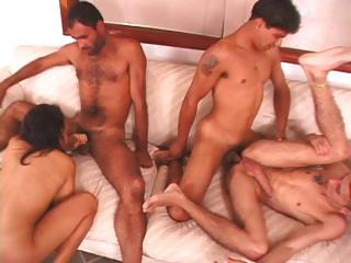 Foursome With Bisexual Dudes Banging Pussy And Sucking Cock