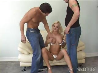 Blonde Bitch Takes On Two Cocks For Double Penetration Action