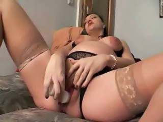 Busty Brunette Mom Plays With Her Titties And Toys Her Snatch