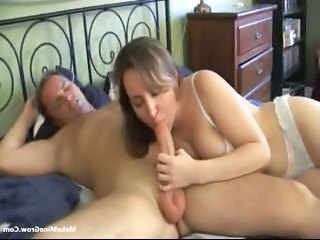 Busty Brunette Munches On A Cock And Gets Her Pussy Licked And Fucked