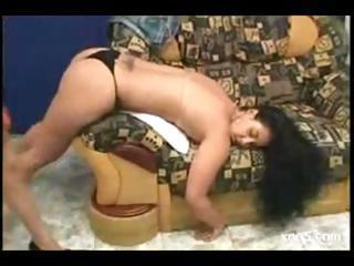Brazilian Chick Bends Over The Couch And Gets Her Ass Licked By Her Girlfriend
