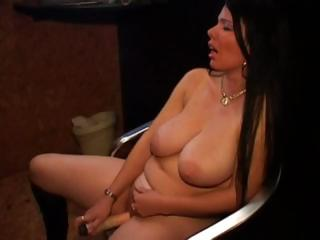 Big Tits Brunette Chubby Dildo  Masturbating Mature Mom Natural  Toy