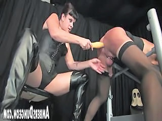 Strap-on, Ass Dilling And Milking Of Helpless Male