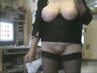 Amateur BBW Big Tits Homemade Natural SaggyTits Stockings Wife