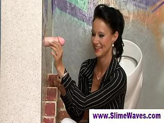 Lady Down On Her Knees At Gloryhole