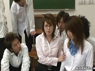 Asian Glasses Groupsex Japanese  Old and Young Orgy School Student Teacher Uniform
