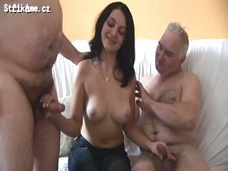Old Guys Have Fun With Beautiful Young Chick