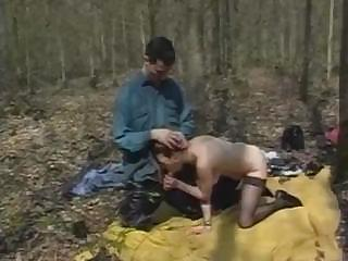 Two Hungry Guys Catch Dirty Hooker In Forest And Be captivated by Her Hard