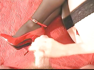 Cumming On Red High Heels