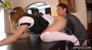 Asian Clothed Daddy Japanese Maid Old and Young Uniform