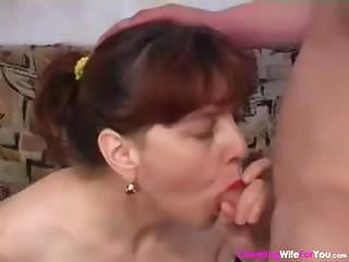 Brunette Housewife Sucks On His Rod And Then Gets Banged For Nip
