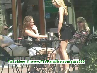 Ashely And Brianna Stunning Lesbians Kissing And Flashing In Public