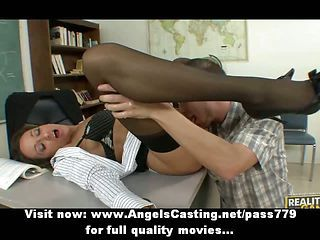 Hot Brunette Teacher Has Pussy Licked And Does Blowjob For Student