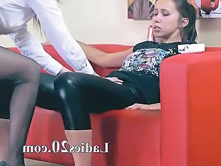 Two Horny Chicks Having Sex On Red Couch
