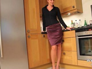 fairhair babe in kitchen teasing hard