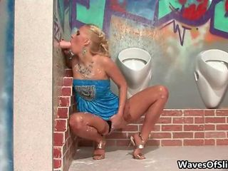 Dirty Blonde Slut Goes Crazy Sucking