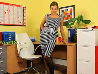 Ultra sexy secretary tease in office