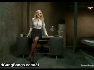 Busty Blonde Prison Warden Gangbanged By...