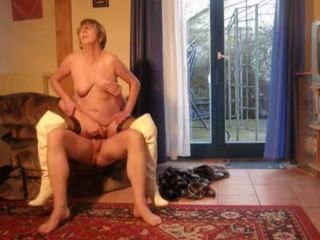 Homemade Granny In Boots And Stockings F...
