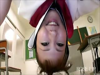Asian schoolgirl Maya Yoshiizumi gives a lap dance and then gets popped