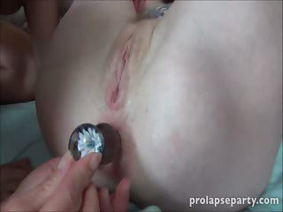 Inner asshole prolapse dildo playing