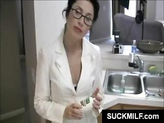 Hot Brunette Milf In Glasses Munches On His Cock In The Kitchen