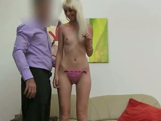 thin blondie fucking on fake casting
