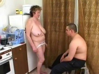 russian muted granny with saggy tits fucked in kitchen