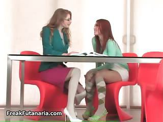 Sexy Redhead And Blonde Babes Get Horny