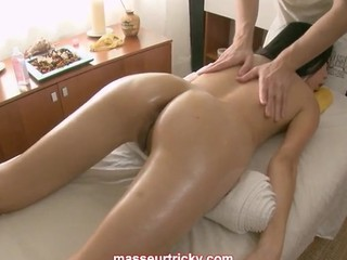 Asian babes massage ends in much more and she likes it