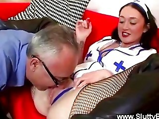 Old Man Doggystyling Teen Nurse