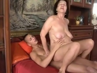 Slut-granny with flabby tits & body fucking with panhandler