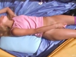 19yo teenie Loly jerking off in a tent