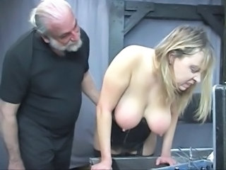 Sky pilot dom pulls chubby sub's hair and smacks her big tits