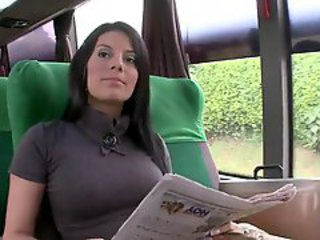 Amazing Brunette Bus MILF Public Spanish