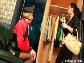 Horny blonde gets abused by a slutty part4