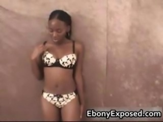 Ebony charmer sucking a white rod part4