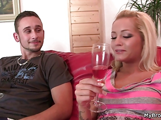 Horny blonde cheats with his brother