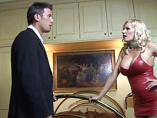 British Michelle Thorne gets fucked in a red rubber dress