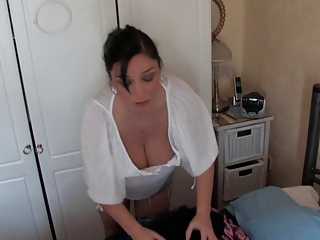 Making bed with boobs-out #2 - spy video