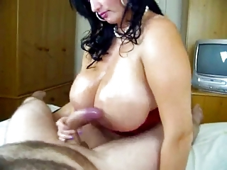 chubby mature with big tits  in stocking sucks